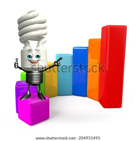 Cartoon Character of CFL with business graph - stock photo