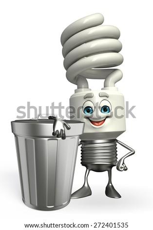 Cartoon Character of CFL with dustbin - stock photo