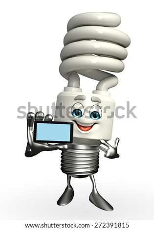 Cartoon Character of CFL with mobile - stock photo