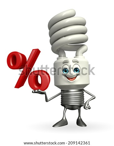 Cartoon Character of CFL with Percentage - stock photo