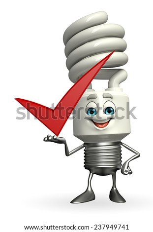 Cartoon Character of CFL with right sign  - stock photo