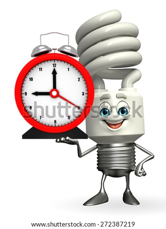 Cartoon Character of CFL with table clock - stock photo