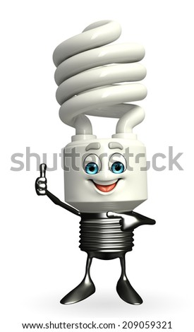 Cartoon Character of CFL with thumbs up pose - stock photo