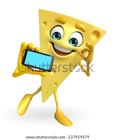 Cartoon Character of Cheese with mobile