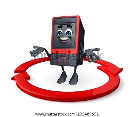 Cartoon Character of Computer Cabinet with arrow - stock photo