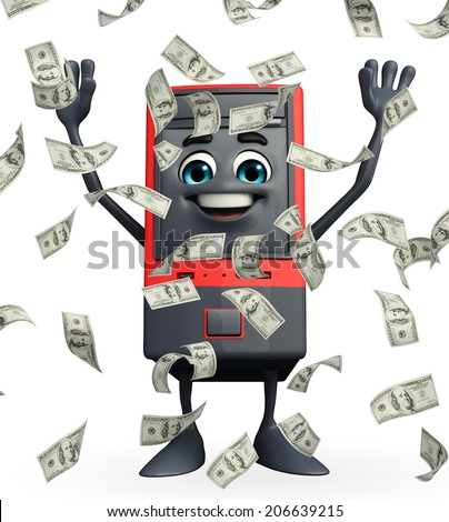 Cartoon Character of Computer Cabinet with dollars - stock photo