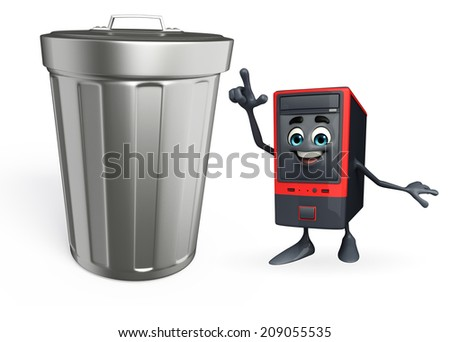 Cartoon Character of Computer Cabinet with dustbin  - stock photo