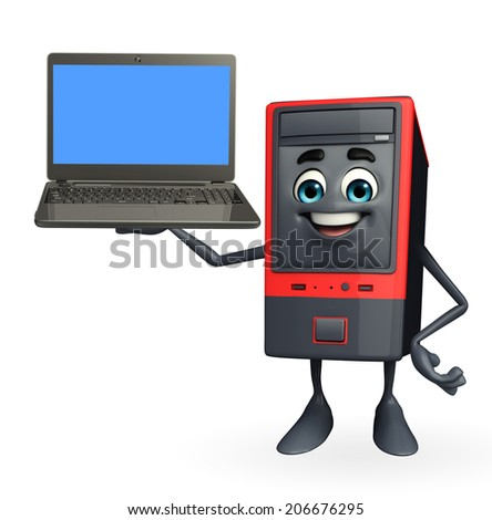 Cartoon Character of Computer Cabinet with laptop - stock photo