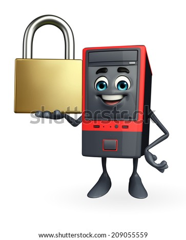 Cartoon Character of Computer Cabinet with lock - stock photo