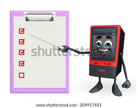 Cartoon Character of Computer Cabinet with notepad - stock photo