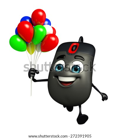 Cartoon Character of Computer Mouse with Balloons - stock photo