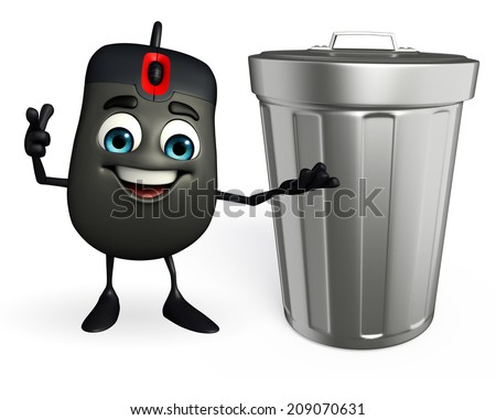 Cartoon Character of Computer Mouse with dustbin - stock photo