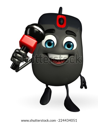 Cartoon Character of Computer Mouse with mike - stock photo
