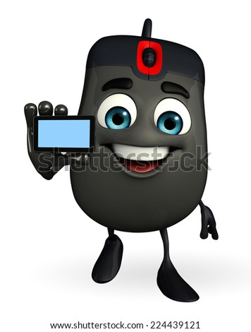 Cartoon Character of Computer Mouse with mobile