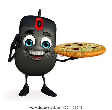 Cartoon Character of Computer Mouse with pizza - stock photo