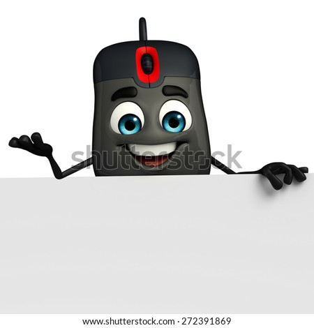 Cartoon Character of Computer Mouse with sign - stock photo