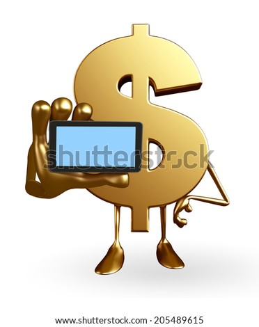 Cartoon Character of dollar with mobile - stock photo