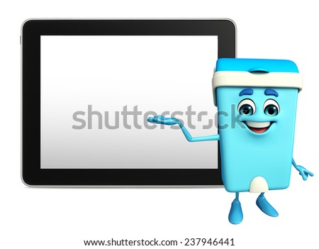 Cartoon Character of Dustbin with tab