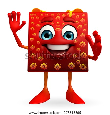 Cartoon Character of gift box is hello pose