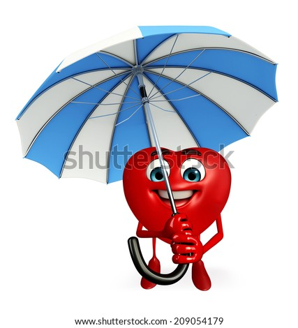 Cartoon Character of heart shape with umbrella