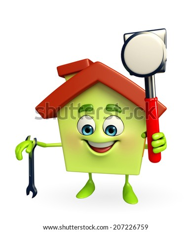 Cartoon Character of house with hammer and wrench