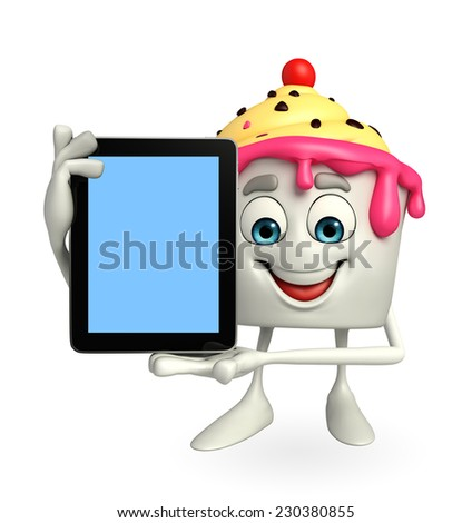 Cartoon Character of Ice Cream with tab