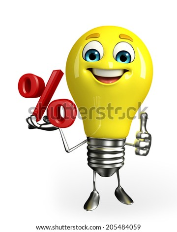 Cartoon Character of light bulb with percent sign - stock photo