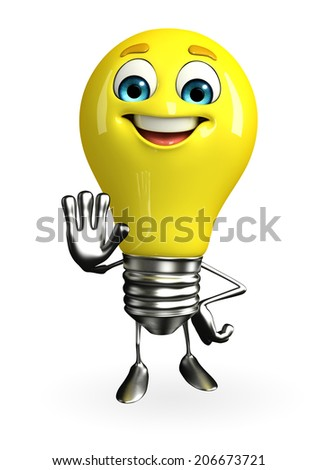 Cartoon Character of light bulb with stop pose - stock photo