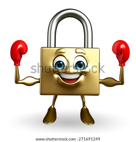 Cartoon Character of lock with Boxing Gloves  - stock photo