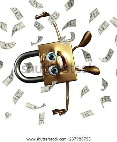 Cartoon Character of lock with dollars   - stock photo