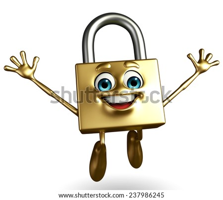 Cartoon Character of lock with happy pose - stock photo