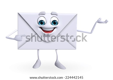 Cartoon Character of mail is presenting - stock photo