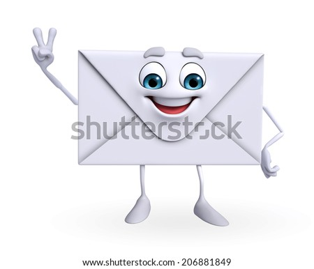 Cartoon Character of mail is Victory - stock photo
