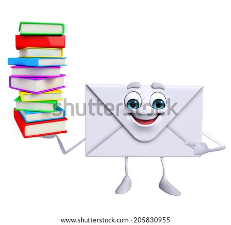 Cartoon Character of mail with Books pile - stock photo