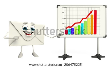 Cartoon Character of mail with business graph - stock photo