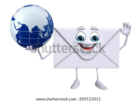 Cartoon Character of mail with globe - stock photo