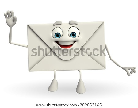 Cartoon Character of mail with hello pose - stock photo