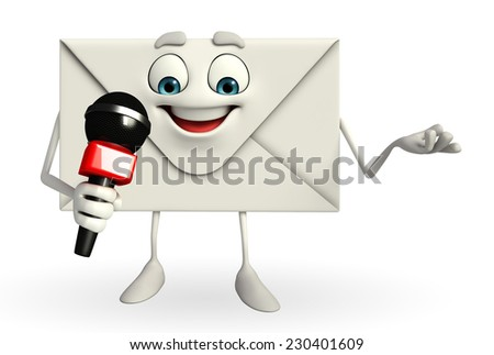 Cartoon Character of mail with mike  - stock photo