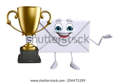 Cartoon Character of mail with trophy - stock photo