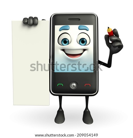 Cartoon Character of Mobile with sign