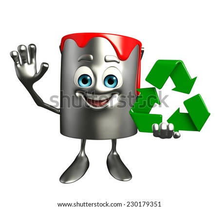 Cartoon Character of paint bucket with recycle icon - stock photo