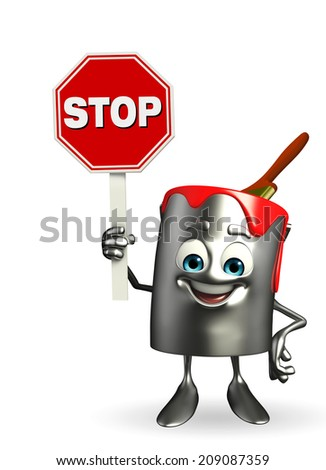 Cartoon Character of paint bucket with stop sign  - stock photo