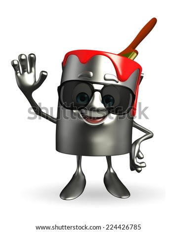 Cartoon Character of paint bucket with sun glasses - stock photo
