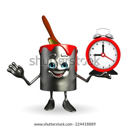 Cartoon Character of paint bucket with table clock - stock photo