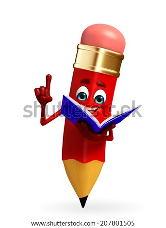 Cartoon Character of pencil is reading a book - stock photo