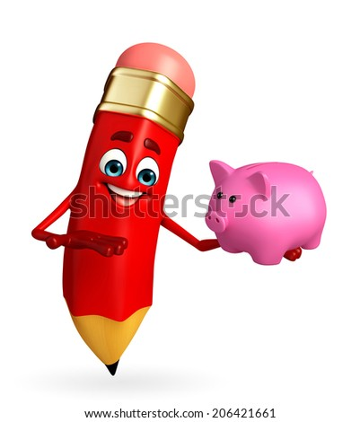 Cartoon Character of pencil with piggy bank - stock photo