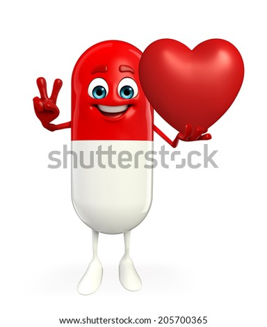 Cartoon character of pill with red heart - stock photo