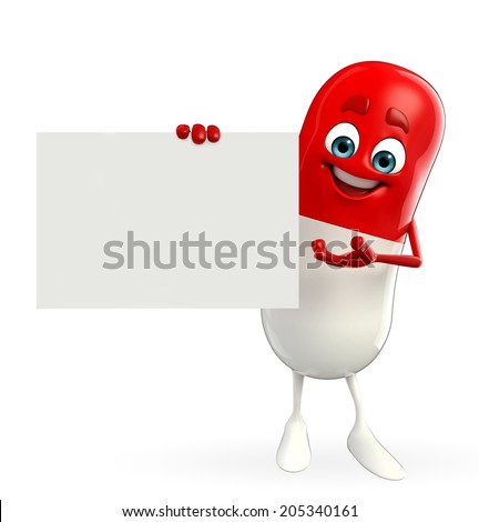 Cartoon character of pill with sign - stock photo