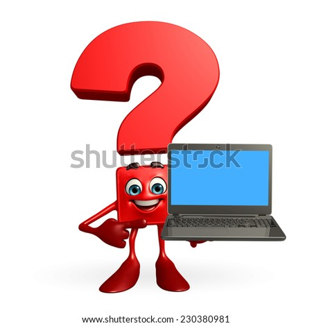 Cartoon Character of Question Mark with laptop