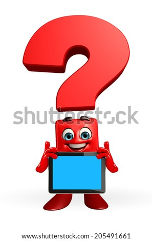 Cartoon Character of Question Mark with tab